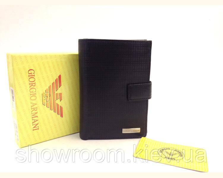 Мужское кожаное портмоне в стиле Giorgio Armani (GA 086-936) black, фото 1