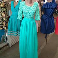 Красивое гипюровое платье с шифоновой юбкой,вечернее,свадебное, корпоративное,выпускное.
