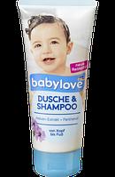 Гель для душа + шампунь с экстрактом мальвы и пантенолом  Bebylove Dusche&Shampoo Malve-Extrakt 200ml