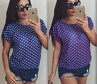Женская летняя блузка в горошек