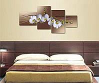 """Модульная картина для спальни """"Цветы орхидеи"""""""