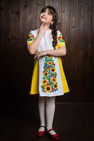 Модное детское вышитое платье в подсолнухах