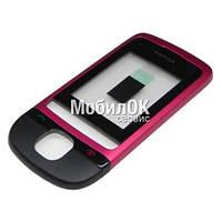 Передняя панель для Nokia C2-05 розовая, со стеклом корпуса, оригинал (0258963)