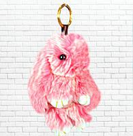Детская мягкая игрушка,зайка,пушистый брелок,розовый с белым