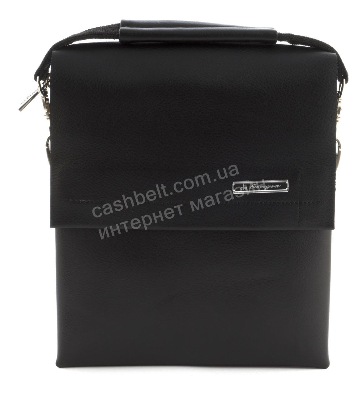 Якісна міцна чоловіча сумка почтальонка з якісної шкіри PU LANGSA art. TP9888-2 чорний