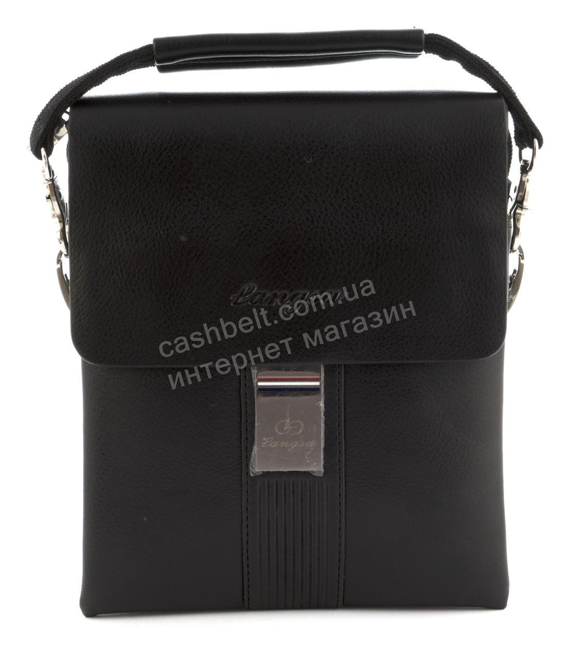 Качественная прочная мужская сумка почтальонка с качественной PU кожи LANGSA art. 6723-2 черный