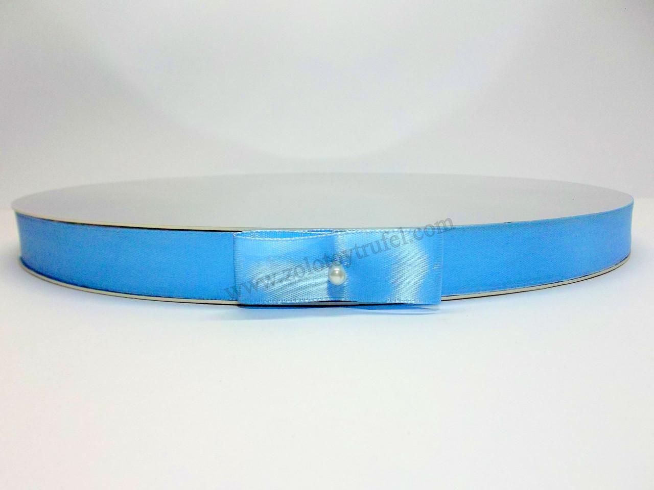 """Подложка усиленная h-2 см """"Круглая серебро-золото с голубой лентой Ф 30 см"""""""
