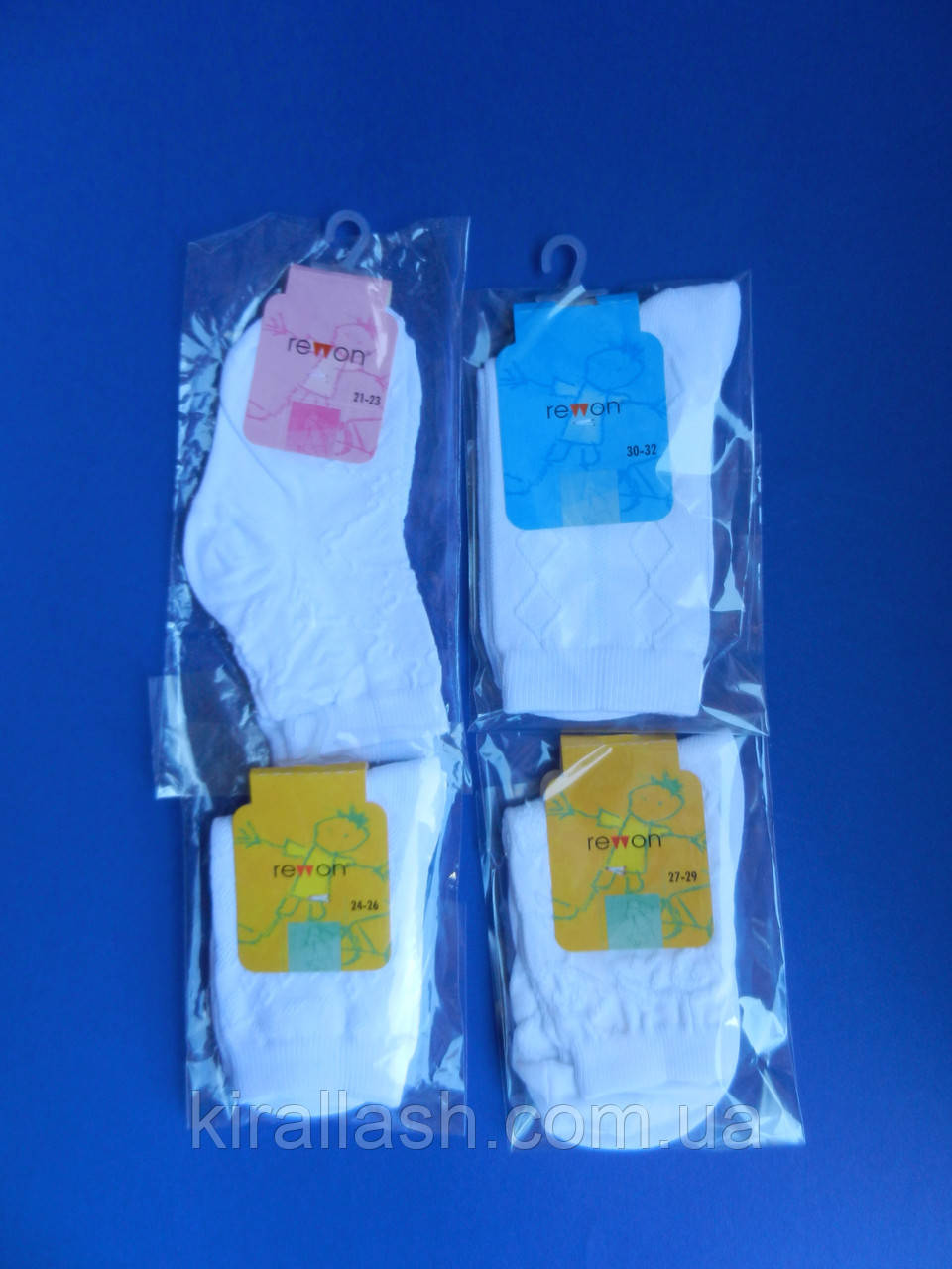 """Шкарпетки (30-32, 19-20 см) АЖУРНІ """"Rewon"""" БІЛІ Польща"""
