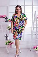 Женское летнее трикотажное платье в цветочный принт, с вырезом