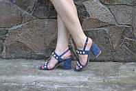 Элегантные босоножки удобный каблук с жемчужинами  джинсового синего цветао с  36 по 41р