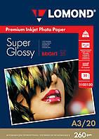 Суперглянцевая микропористая фотобумага для струйной печати, A3, 260 г/м2, 20 листов