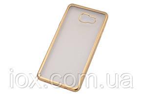 Силиконовый прозрачный чехол Baseus с золотистым бампером для Samsung Galaxy A7 (2016)