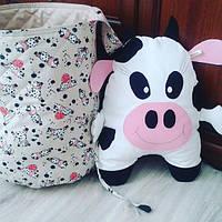 Корзина  для игрушек +декоративная подушка коровка