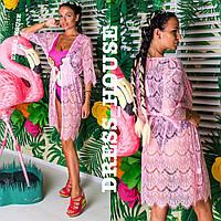Пляжная накидка-халатик р. S-M розовый