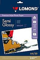 Полуглянцевая микропористая фотобумага для струйной печати, A4, 260 г/м2, 20 листов