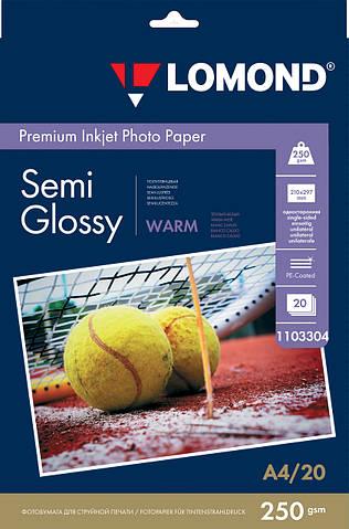 Полуглянцевая тепло-белая микропористая фотобумага для струйной печати, A4, 250 г/м2, 20 листов