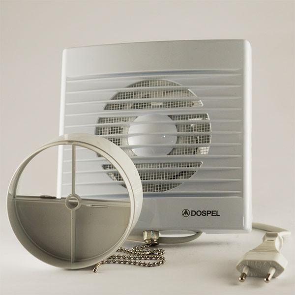 Вытяжной осевой вентилятор с обратным клапаном и шнурком для кухни Dospel STYL 100 WP-P 007-0002P