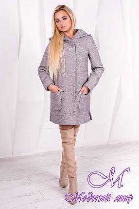 Женское демисезонное пальто с капюшоном (р. S, M, L) арт. Эльза 1353 -10010, фото 2