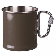 Кружка стальная 300мл с карабином MilTec Olive 14608102