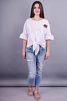 Сати. Стильная блузка больших размеров. Белый.