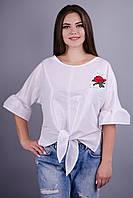 Сати.Оригинальная блузка супер батал. Белый.