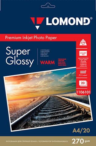 Суперглянцевая тепло-белая микропористая фотобумага для струйной печати, A4, 270 г/м2, 20 листов