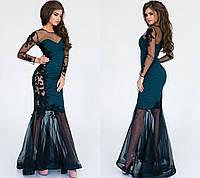 Платье  Ткань: жаккард, сетка, нашивка Длина платья: 153 см Эксклюзивный пошив! Ручная работа! па №61139