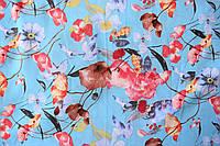Ткань Шифон стрейч принт, арт. 11428/9/1, Утренний букет (голубой)