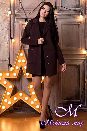 Женское кашемировое демисезонное пальто шоколад (р. S, M, L) арт. Вейси 13689, фото 2