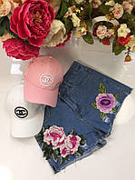 Модные женские джинсовые шорты с вышивкой цветы