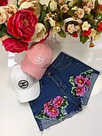 Модные женские джинсовые шорты с паетками цветы