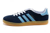 Мужские кроссовки Adidas Gazelle Indoor Dark Blue/ Sky Blue