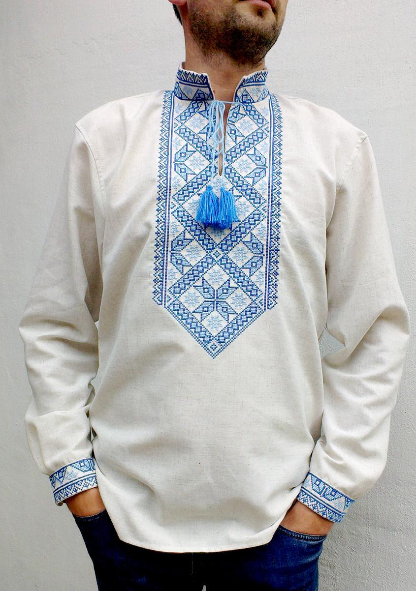 Чоловіча вишита сорочка Матвій на льоні вишивка синьо-блакитна