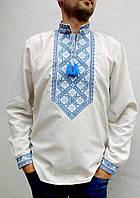 Мужская вышитая рубашка Матвей на песочном льне вышивка сине-голубая