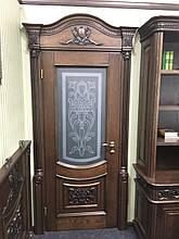 """Деревянная дверь """"Пьемонт"""",витраж."""