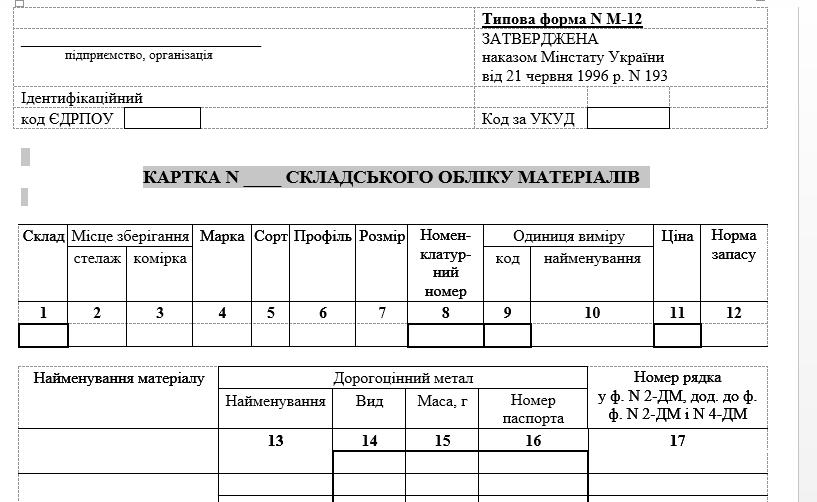 Картка складського обліку матеріалів ф м12 (офсет 170 гр/м2)