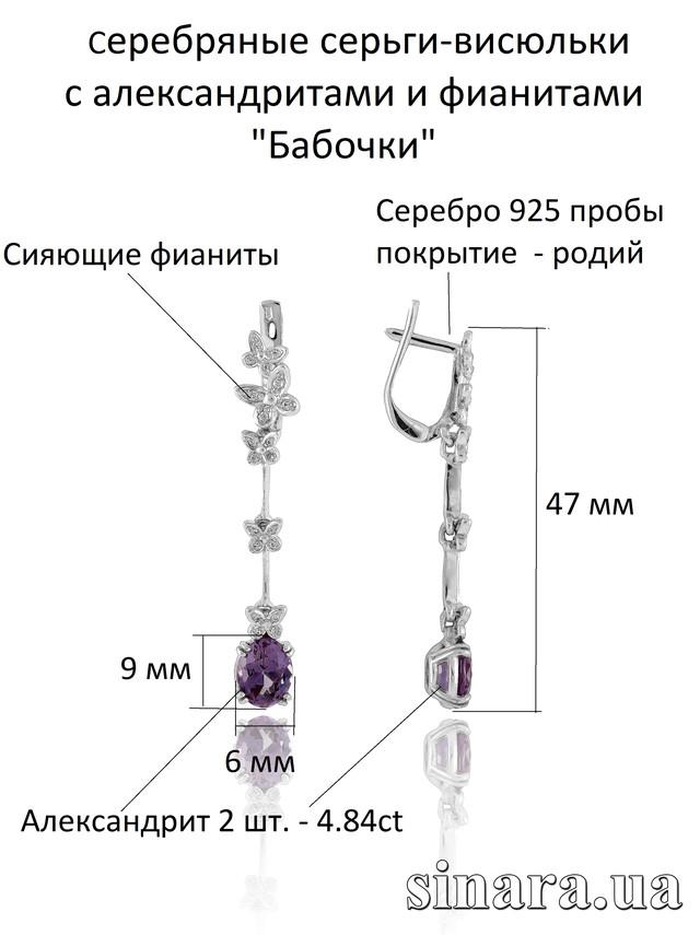 Серебряные серьги-подвески c александритом Бабочки 1 фото