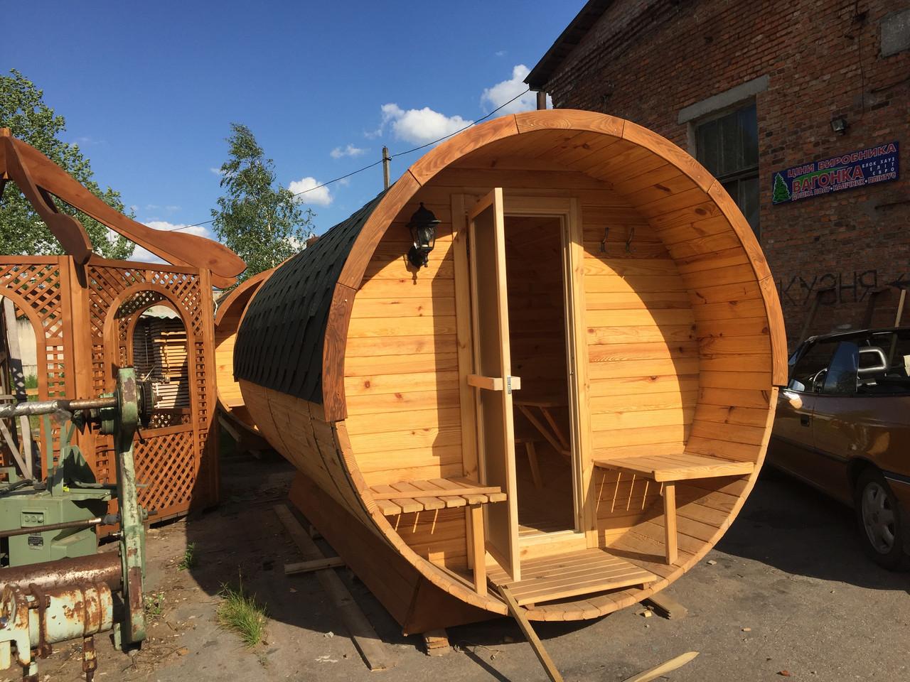 Изготовление бани бочки деревянной круглой 2,4х3,4 м