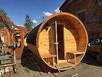 Деревянная баня бочка круглая 2,4х4,5 м
