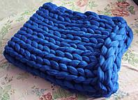 Плед ручной работы, вязанный из толстой пряжи, 100% шерсть. Цвет Василек