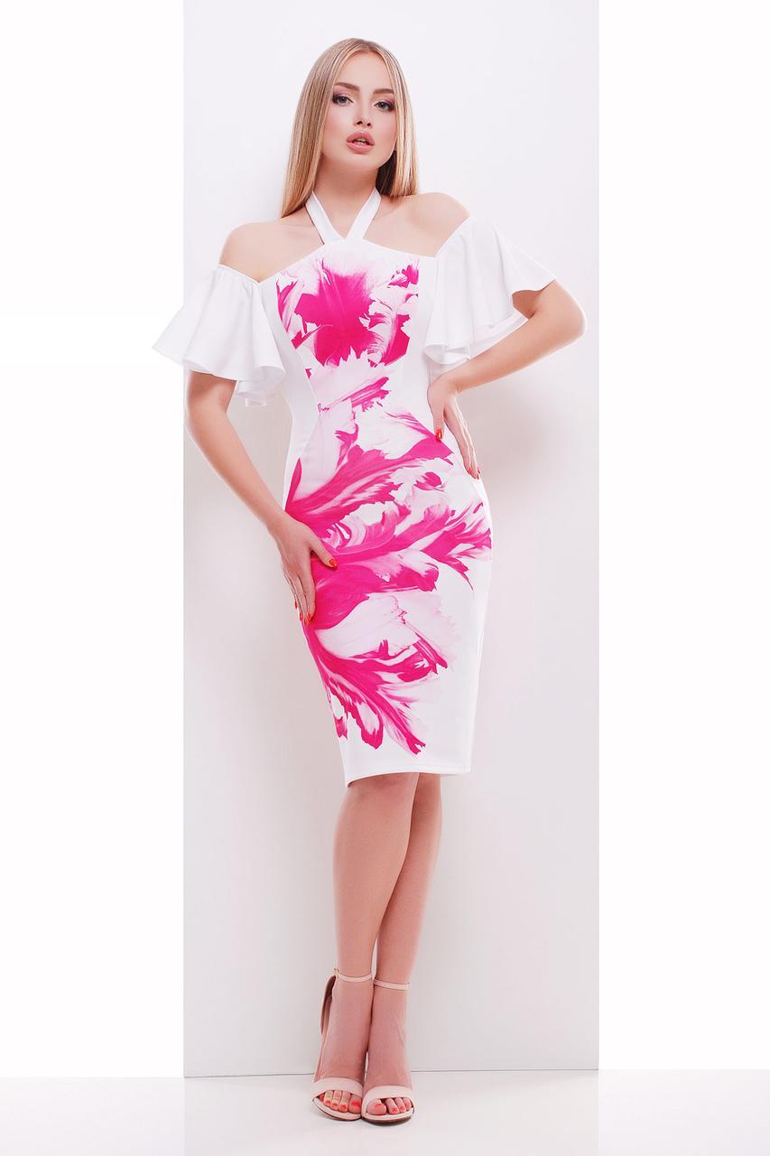 Бело-розовое платье по фигуре