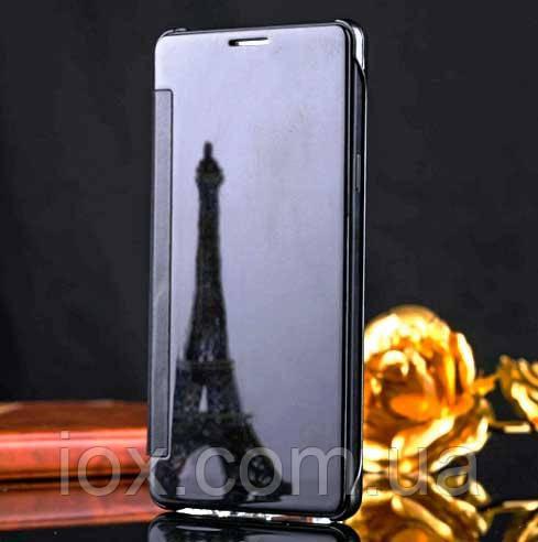 Черный зеркальный премиум чехол-книжка для Samsung Galaxy J7 2015