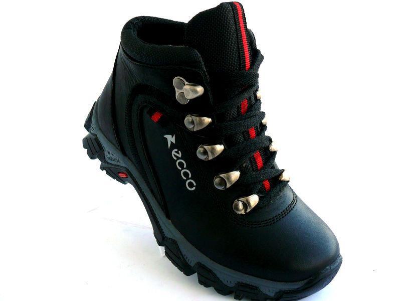 Детские подростковые ботинки с нат. кожи чёрные EKKO