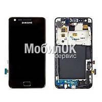 Дисплей для Samsung I9100 Galaxy S2 с тачскрином и рамкой, черный