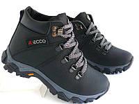 Детские и подростковые ботинки с нат. кожи чёрные EKKO Ekstrim