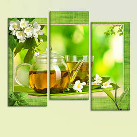 """Модульная картина """"Зеленый чай"""""""