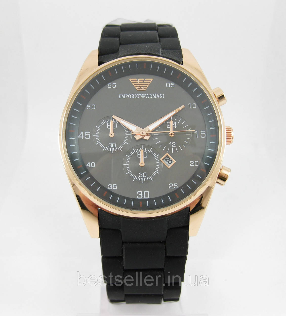 9d039046 Часы Emporio Armani Silicone gold/black (кварц). Реплика - Интернет-магазин