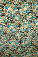 Ткань Вискоза принт букеты голубой