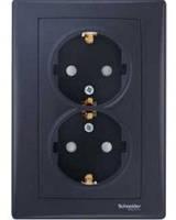 Розетка двойная с заземлением с защитными шторками графит Sedna Schneider Electric SDN3000470