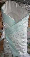 """Конверт-одеяло на выписку на липучке с красивым бантом (зимний, деми), 90х90- """"Горошек"""""""